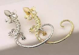 Wholesale luxury ear cuffs - Earcuff Fashion Ear Cuff Rhinestone Earrings Ear Cuff Luxury Golden Silver Plated Exaggerated Gecko Lizard Stud Earrings Jewelry Crystal