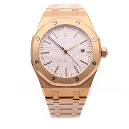 Wholesale Offshore Rose Gold - 2017 Royal Oak Offshore Mens Watch White Dial Transparent Back Original Clasp Automatic Mechanical Men Watches Rose Gold Stainless Steel