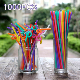 Wholesale protection bar - 1000 Pcs Disposable Color Art Straw Drink Juice Fruit Coke Creative Style Straws Environmental Protection Plastic Party Home