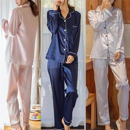 Pijama Pajamas Suit Female Sleep Two Piece Set Loungewear Womens Silk Satin Pajamas  Pyjamas Set Long Sleeve Sleepwear fa7aaa1de