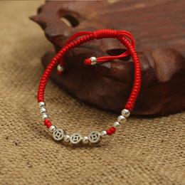 glückliches seil armband Rabatt Echt 925 Sterling Silber Antike Münzen Perlen Glück Rot Seil Armband Handgemachte Glück Armreif Amulett Schmuck