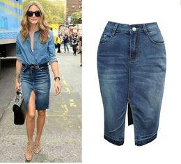 4802a15e584 denim skirt midi length Canada - Split Jeans Skirt Autumn Mid Waist  Straight Denim Skirts Woman