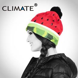 cappelli invernali divertenti per le donne Sconti CLIMATE 2018 Winter Girls Women Warm Pompon Hat Divertente stampa 3D Anguria Berretti Unico Colorful Nizza cappello lavorato a maglia per le donne