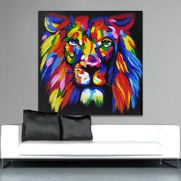 arte da lona do leão Desconto 1 Peça Colorido Leão Rei Pintura A Óleo Impressa Na Lona Arte Animais Impressões Cartazes Arte Da Parede Pintura Em Spray Sem Moldura