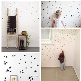 2019 adesivos de parede de vinil pássaros de árvore negra 39 Estrela de Ouro de Prata Preto Branco Estrelas Padrão PVC DIY Decalques de Arte de Parede para Crianças Decoração do Quarto Adesivos de Parede Home Decor IC893920