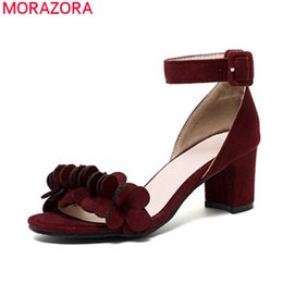 bc92400d0c752 wholesale 2018 new arrival women sandals top quality flock summer shoes  simple buckle party shoes square heels shoes wine red
