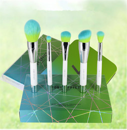 Silberner lidschatten online-Pony-Effekt Empfehlen Silber Blau Magnet 5 Make-up Pinsel Set Loose Powder Blush Brush Lidschattenpinsel Limited Edition