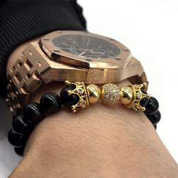 Wholesale jewelry ball stone - New Fashion Crown Bracelets & 8MM Ball Armband Stone Beaded Bracelets For Men Or Women Jewelry Gift