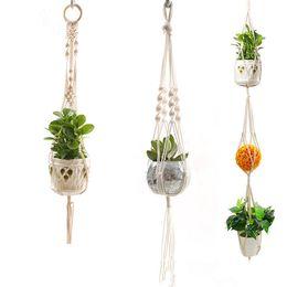 Pianta Hanger Corda di cotone naturale Crochet Basket Flower Pot Net Holder Contenitore Cesto appeso vasi di fiori decorativi Multi Design da