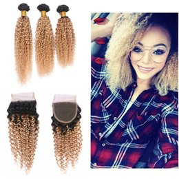 Wholesale Curly Hair Two Tone Color - Ombre Blonde Color Kinky Curly Human Hair Weaves With Lace Closure Two Tone 1B 27 Hair Weft Extensions With Top Closure 4x4