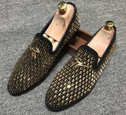 Sapatos de escritório on-line-Chegada nova sapatos de casamento homem ponto toe vestido sapato designer mens loafers set trado flats escritório