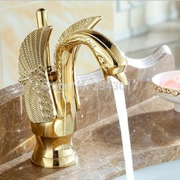 Wholesale Swan Sink Faucets - Wholesale-Golden Swan Faucet Bathroom Luxury European Style Carving Vanity Sink Mixer Taps Deck Mounted torneira banheiro ZR475
