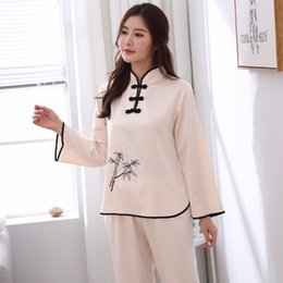 82efd26f1e 2018 New Beige Chinese Women Pajamas Suit High Quality Embroidery Pyjamas  Set Vintage Causal Sleepwear Nightwear M L XL XXL C18110301