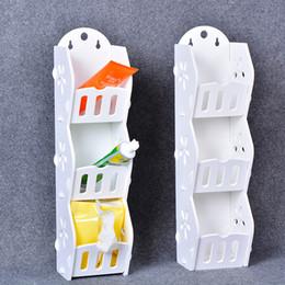 basamento mobile di disegno Sconti Contenitori portaoggetti a parete Tre livelli Design a forma di cavità rimovibile Mobile da bagno intagliato rimovibile Bianco Nuovo arrivo 15bl B