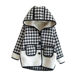 Wholesale Girl Elegant Coats - elegant girl coat European plaid hooded thick cotton coat jacket for 2-8years girls kids children warm thicken outerwear clothes