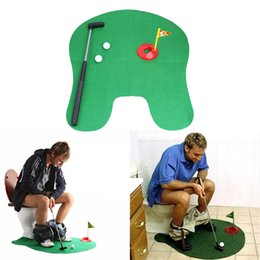 Wholesale Golf Toys - Funny Toilet Bathroom Mini Golf Mat Set Potty Putter Putting Game Men's Toy Novelty Gift