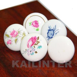 Wholesale flower cabinet pulls - Round Orchid Flower Pattern Ceramic Cabinet Cupboard Drawer 30MM Knobs Pull Handles