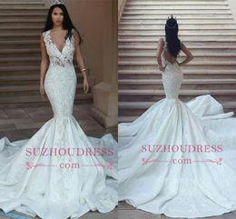 profundo abierto v boda espalda vestido Rebajas Dubai árabe 2018 vestidos de novia de la sirena cuello en V profundo apliques de encaje espalda abierta tribunal tren vestidos de novia de la boda vestidos de novia BA9550