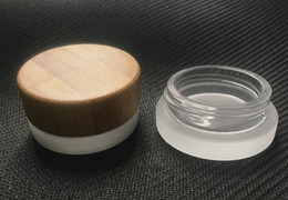 Wholesale Popular Samples - sample 5ml frosted clear glass jar with bamboo lid wax cosmetic cream jar container 5g storage container 2018 most popular items