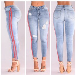 Wholesale Womens Stretch Black Pants - YSMARKET New Hot Fashion Ladies Cotton Denim Pants Stretch Womens Bleach Ripped Knees Skinny Jeans Denim Jeans For Female E066