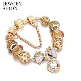 Encanto dorado online-JEWOEY SHION Elegant Elegant Jewelry Gift Moda Hot Golden Heart Pulsera colgante Pandora charm pulsera para mujer