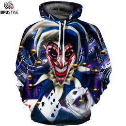 Clown freizeitkleidung online-Großhandel Joker Clown Hoodies Poker 3d Print Männer Frauen Hoodie Sweatshirts Männlichen Casual Herbst Winter Kleidung Sudadera Hombre