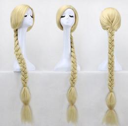 Wholesale rapunzel tangled cosplay - 120cm Long Princess Tangled Wig Rapunzel Cosplay Wigs Light Blonde Wig