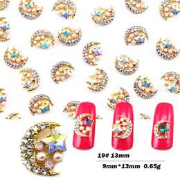 Sternförmige schmucksets online-10pcs / set Nagelkunstdekorationstern moon shaped 3D Metallnagelniet mit Perle Rosen-Golddiamantschmucksachen Rhinestone BZ041