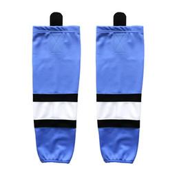 Luz de hielo barata online-COLDINDOOR 100% poliéster azul claro El hockey sobre hielo calcetines baratos Espinilleras XW006