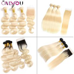 OnlyouHair® 1B 613 Omber Sarışın İnsan Saç Demetleri ile Dantel Kapatma Frontal Brezilyalı Bakire Düz Vücut Dalga İnsan Saç örgüleri uzatma nereden