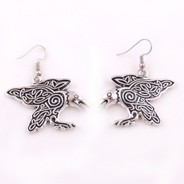Wholesale ct earrings - Drop Shipping Raven Pendant Morrigan Crow Amulet Jewelry with CT Spirals Charm Pendant Earrings Best Gift