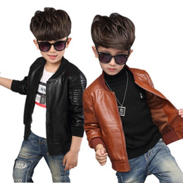 043e80a0bea3 New Baby Boy Leather Jacket Boys Coat Black and Brown Color Children  Jackets Manteau Garcon Kids Jacket Outerwear 6CT107