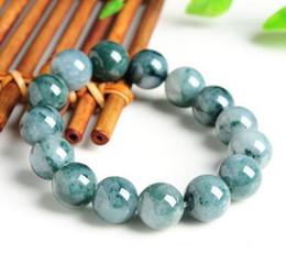 Pierres de jade rondes en Ligne-Livraison Gratuite 14mm 100% Naturel Une Grade Vert Jade Jadéite Perles Rondes Pierres Précieuses Bracelet 7.5 ''