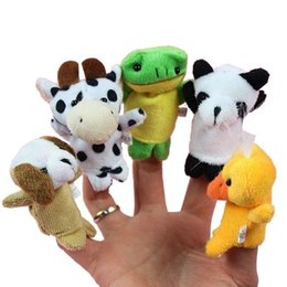 Wholesale Hand Puppets Toys - 10styles Cute Animal Finger Puppets toys Short Floss Baby Hand Puppet toy Kids baby early education Finger Toy Storytelling props