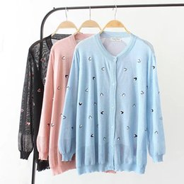 Wholesale Woman Trenchcoat - Plus size Single Breasted summer trench coat for women 2018 sky blue & black & pink Embroidered thin Knitted trenchcoat 4XL