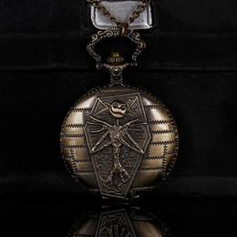 neue weiße gold taschenuhr Rabatt KÖNIGLICHE WAREN Die Nacht vor Weihnachten Comic Emboss Design Jack Skelett Bronze Vintage Taschenuhr mit Halskette