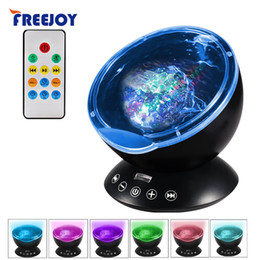 Wholesale Light Projectors For Kids - 7Colors LED Night Light Starry Sky Remote Control Ocean Wave Projector with Mini Music Novelty baby lamp led night lamp for kids
