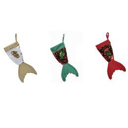 mini alberi di natale azionati da batteria Sconti Calze natalizie Babbo natale Calze Calzino Sirena Paillettes Brillanti regali Borsa Decorazioni natalizie Regali Ornamenti14gm gg