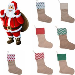 Wholesale christmas trees toys - Christmas Decorations Canvas socks Stocking Gift Bag Stocking 30*45cm Christmas Tree Decoration Socks Xmas Stockings toys GGA664 50pcs