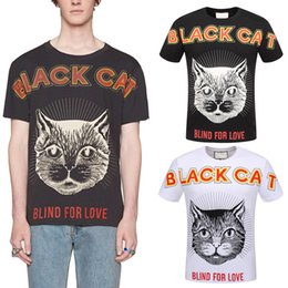 Wholesale nice shirts cotton - Crew-Neck T Shirt Men's Printed Cat Letters Round Collar Top Men Nice Quality Short Sleeves Tee Man