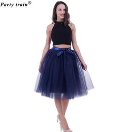 7ce72dc28ec 5 Layers 65cm Midi Tulle Skirt Princess Pleated Dance Tutu Skirts Womens  Lolita Petticoat Jupe Saia faldas Denim Party Skirts D1891801