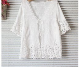 Wholesale Korean Womens Fashion Blouses - Women Blouses Hollow Out White New 2018 Summer Lace Korean Fashion Clothing Womens Tops and Blouses Blusa Feminina Camisa Mujer