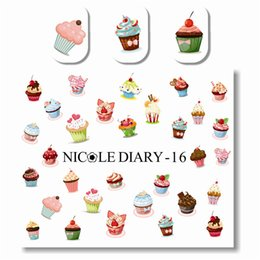 Wholesale Ice Cream Stickers - NICOLE DIARY 1 Sheet Design Multifarious Ice Cream Nail Art Water Decals Transfer Sticker for Nail Art Decoration