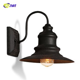 Wholesale vintage lamp posts - American Vintage Industrial Wind Bar Restaurant LED Deco Wall Lamp Loft Retro Courtyard Balcony Iron Black Wall Lights Fixtures