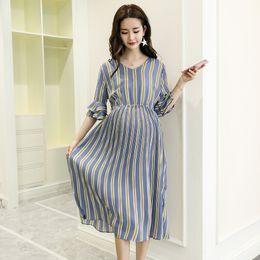 Wholesale Elegant Pregnant Women - Vertical Striped Chiffon Maternity Long Dresses V Neck Slim Waist Charming Clothes for Pregnant Women Elegant Pregnancy