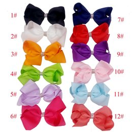 Wholesale Hair Clips Ribbon Diamond - 12 Colors JOJO With diamond 6 Inch Fashion Baby Ribbon Bow Hairpin Clips Girls Large Bowknot Barrette Kids Hair Boutique Bows Children Hair