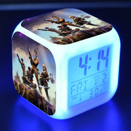 Wholesale wholesale clock supplies - Fortnite Game LED Alarm Clock Square Color Change Digital Table Clocks Action Figure Decoration Supplies New Arrival 13ml BB