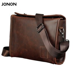 Wholesale Briefcases Lock - Jonon Vintage Men Briefcase Portfolios Office Bags Business Bag Messenger For Men Crazy Horse PU Leather Lock Brown Small