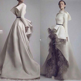 Wholesale Font Lights - Krikor Jabotian Long Sleeves Prom Dresses Evening Gowns 2016 Short Font Long Back Grey Feather Satin Open Back Formal Dresses Party Wear