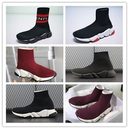 Wholesale Clear Plastic Shoe Boxes - Triple Black Speed Stretch Knit Mid Sneakers Cheap Man Women Knit Trainers Sock Shoes With Box Size US36--45